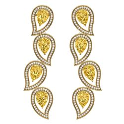 14.63 CTW Royalty Canary Citrine & VS Diamond Earrings 18K Yellow Gold - REF-281N8Y - 39464