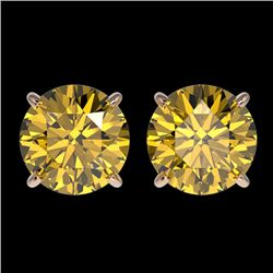 2.57 CTW Certified Intense Yellow SI Diamond Solitaire Stud Earrings 10K Rose Gold - REF-381M8F - 36
