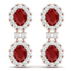 8.98 CTW Royalty Designer Ruby & VS Diamond Earrings 18K Rose Gold - REF-218H2W - 38812