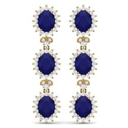 24.52 CTW Royalty Sapphire & VS Diamond Earrings 18K Yellow Gold - REF-400N2Y - 38645