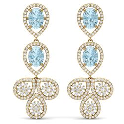 9.55 CTW Royalty Sky Topaz & VS Diamond Earrings 18K Yellow Gold - REF-272F8M - 39092