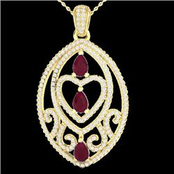 3.50 CTW Ruby & Micro Pave VS/SI Diamond Heart Necklace 18K Yellow Gold - REF-218R2K - 21293