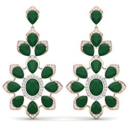 51.8 CTW Royalty Emerald & VS Diamond Earrings 18K Rose Gold - REF-527H3W - 39046