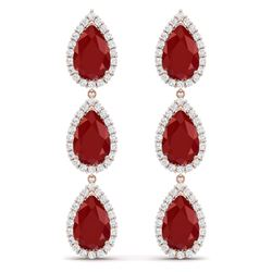 27.06 CTW Royalty Designer Ruby & VS Diamond Earrings 18K Rose Gold - REF-400M2F - 38845