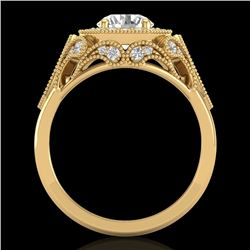 1.75 CTW VS/SI Diamond Solitaire Art Deco Ring 18K Yellow Gold - REF-436R4K - 37321