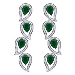 16.44 CTW Royalty Emerald & VS Diamond Earrings 18K White Gold - REF-336X4T - 39450