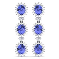 25.36 CTW Royalty Tanzanite & VS Diamond Earrings 18K White Gold - REF-509R3K - 38646