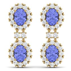8.35 CTW Royalty Tanzanite & VS Diamond Earrings 18K Yellow Gold - REF-263N6Y - 38819