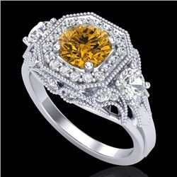 2.11 CTW Intense Fancy Yellow Diamond Art Deco 3 Stone Ring 18K White Gold - REF-283K6R - 38302