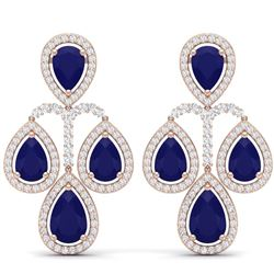 29.23 CTW Royalty Sapphire & VS Diamond Earrings 18K Rose Gold - REF-472R8K - 39367