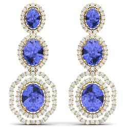 17.82 CTW Royalty Tanzanite & VS Diamond Earrings 18K Yellow Gold - REF-418Y2N - 39212