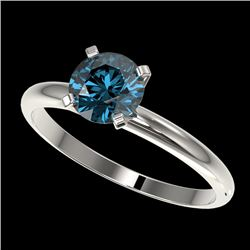 1 CTW Certified Intense Blue SI Diamond Solitaire Engagement Ring 10K White Gold - REF-136F4M - 3289