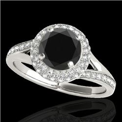 1.6 CTW Certified Vs Black Diamond Solitaire Halo Ring 10K White Gold - REF-77X3T - 34117