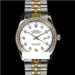 Rolex Men's Two Tone 14K Gold/SS, QuickSet, Diamond Dial & Diamond Bezel - REF-474F5M