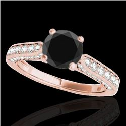 1.6 CTW Certified Vs Black Diamond Solitaire Ring 10K Rose Gold - REF-79M6F - 34920
