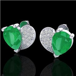 2.50 CTW Emerald & Micro Pave VS/SI Diamond Certified Earrings 10K White Gold - REF-33R8K - 20072