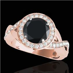 1.75 CTW Certified Vs Black Diamond Solitaire Halo Ring 10K Rose Gold - REF-87M5F - 33271