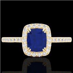 1.25 CTW Sapphire & Micro Pave VS/SI Diamond Certified Halo Ring 10K Yellow Gold - REF-34N2Y - 22911