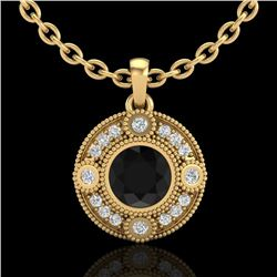 1.01 CTW Fancy Black Diamond Solitaire Art Deco Stud Necklace 18K Yellow Gold - REF-100W2H - 37704