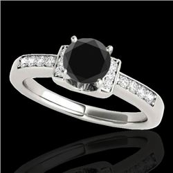 1.11 CTW Certified Vs Black Diamond Solitaire Ring Two Tone 10K White Gold - REF-45T5X - 34831