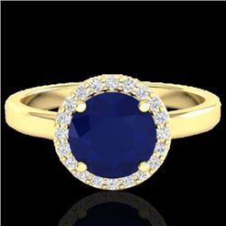 2 CTW Sapphire & Halo VS/SI Diamond Micro Pave Ring Solitaire 18K Yellow Gold - REF-58N2Y - 21644