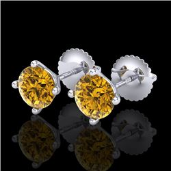 1.5 CTW Intense Fancy Yellow Diamond Art Deco Stud Earrings 18K White Gold - REF-141M8F - 38239
