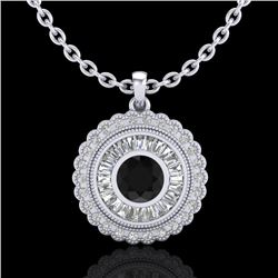 2.11 CTW Fancy Black Diamond Solitaire Art Deco Stud Necklace 18K White Gold - REF-180N2Y - 37912