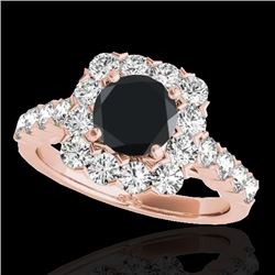 2.5 CTW Certified Vs Black Diamond Solitaire Halo Ring 10K Rose Gold - REF-121R8K - 33347