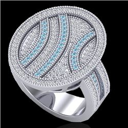 1.25 CTW Micro Pave Blue & White VS/SI Diamond Certified Ring 14K White Gold - REF-122M2F - 20874
