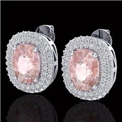 5.50 CTW Morganite & Micro Pave VS/SI Diamond Certified Halo Earrings 18K White Gold - REF-173R6K -