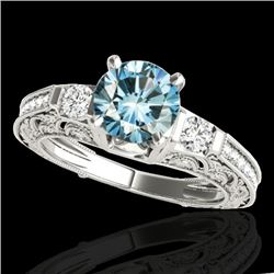 1.38 CTW SI Certified Blue Diamond Solitaire Antique Ring 10K White Gold - REF-174F5M - 34644