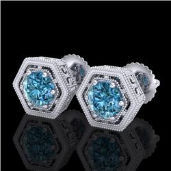 1.07 CTW Fancy Intense Blue Diamond Art Deco Stud Earrings 18K White Gold - REF-131F8M - 37509