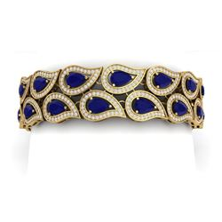 21.6 CTW Royalty Sapphire & VS Diamond Bracelet 18K Yellow Gold - REF-800N2Y - 39488