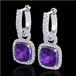 7 CTW Amethyst & Micro Pave VS/SI Diamond Certified Earrings 18K White Gold - REF-101W3H - 22955