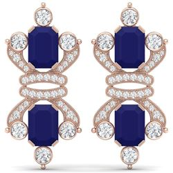 27.36 CTW Royalty Sapphire & VS Diamond Earrings 18K Rose Gold - REF-600M2F - 38767