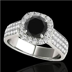 1.8 CTW Certified Vs Black Diamond Solitaire Halo Ring 10K White Gold - REF-101K6R - 34063