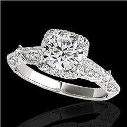 1.36 CTW H-SI/I Certified Diamond Solitaire Halo Ring 10K White Gold - REF-161H8W - 33751