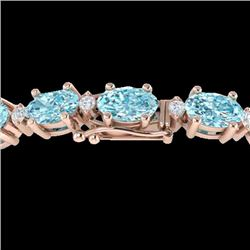25.8 CTW Sky Blue Topaz & VS/SI Certified Diamond Eternity Bracelet 10K Rose Gold - REF-118T4X - 294