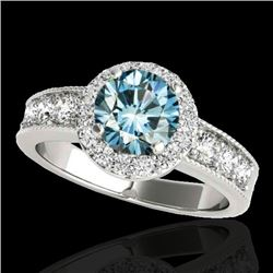1.85 CTW SI Certified Fancy Blue Diamond Solitaire Halo Ring 10K White Gold - REF-207X3T - 34536