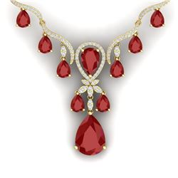 37.14 CTW Royalty Ruby & VS Diamond Necklace 18K Yellow Gold - REF-763R6K - 38594