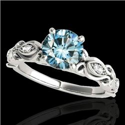 1.1 CTW SI Certified Fancy Blue Diamond Solitaire Antique Ring 10K White Gold - REF-156F4M - 34635