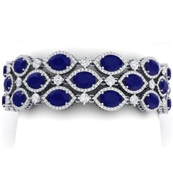 52.84 CTW Royalty Sapphire & VS Diamond Bracelet 18K White Gold - REF-1145T5X - 38892