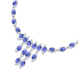65.60 CTW Royalty Tanzanite & VS Diamond Necklace 18K White Gold - REF-1345M5F - 39003