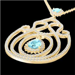 3.20 CTW Sky Blue Topaz & Micro VS/SI Diamond Heart Necklace 14K Yellow Gold - REF-162R4K - 22445