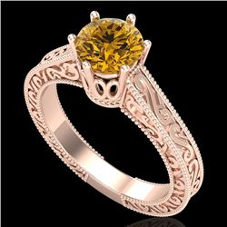 1 CTW Intense Fancy Yellow Diamond Engagement Art Deco Ring 18K Rose Gold - REF-200M2F - 37575