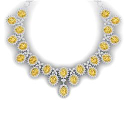 76 CTW Royalty Canary Citrine & VS Diamond Necklace 18K White Gold - REF-1381F8M - 38634