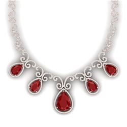 38.42 CTW Royalty Ruby & VS Diamond Necklace 18K Rose Gold - REF-1218F2M - 39529