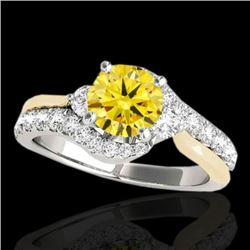 1.6 CTW Certified Si Intense Diamond Bypass Solitaire Ring 2 Tone 10K White & Yellow Gold - REF-180Y