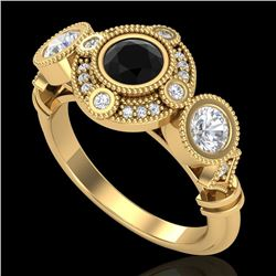 1.51 CTW Fancy Black Diamond Solitaire Art Deco 3 Stone Ring 18K Yellow Gold - REF-174W5H - 37711