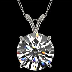 2.53 CTW Certified H-SI/I Quality Diamond Solitaire Necklace 10K White Gold - REF-844W2H - 36818